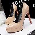 Женщины Насосы Лакированной Кожи Моды Каблуки Мелкая Рот Указал Высокой Пятки Платформы ShoesOL Офис Обувь Женском Одиночном Обувь G9266