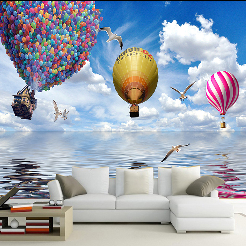 Custom 3d Poster Wallpaper New Design Hot Air Balloon Blue