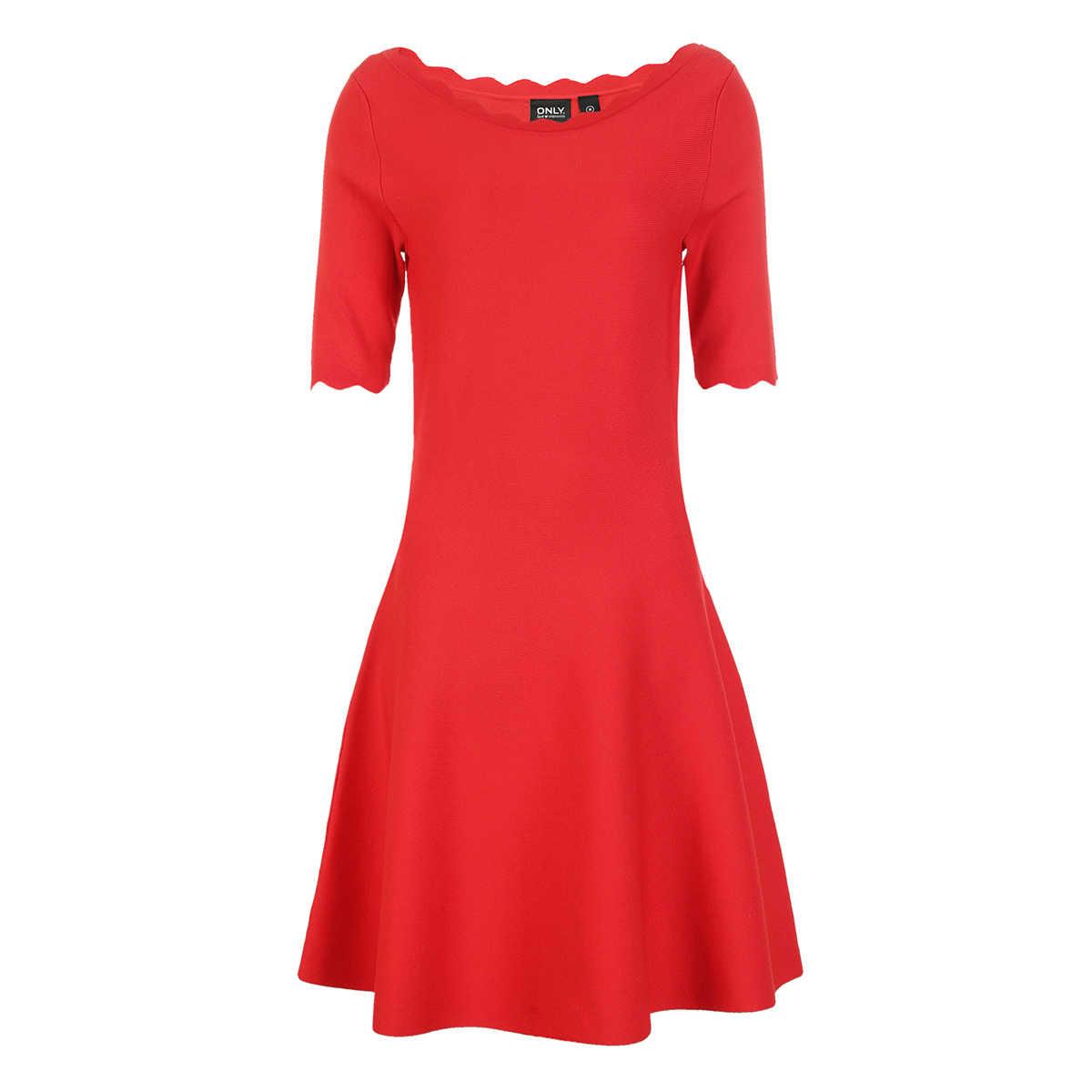 のみ 2019 春 & 夏の女性のドレス赤エレガントなドレスラウンドネック A ラインレッドニットドレス   118146523