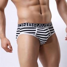 HOT!2017 Brand Brave Person sexy Underwear Men's Cotton Striped Briefs Underpant