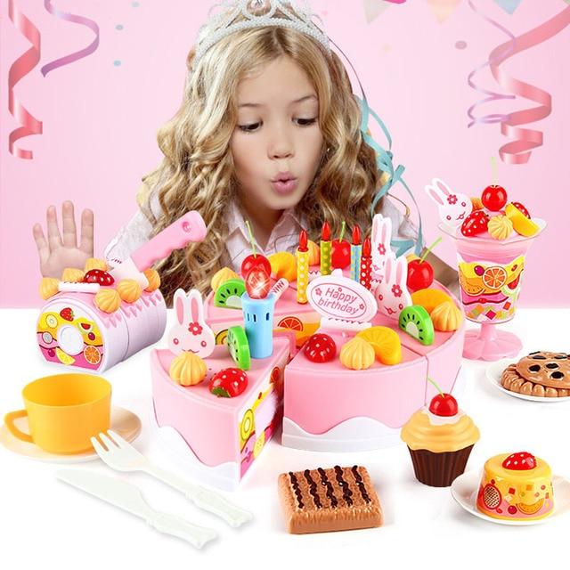 Birthday Cake Toys Diy Pretend Play Fruit Cutting Cooking Toys Cake