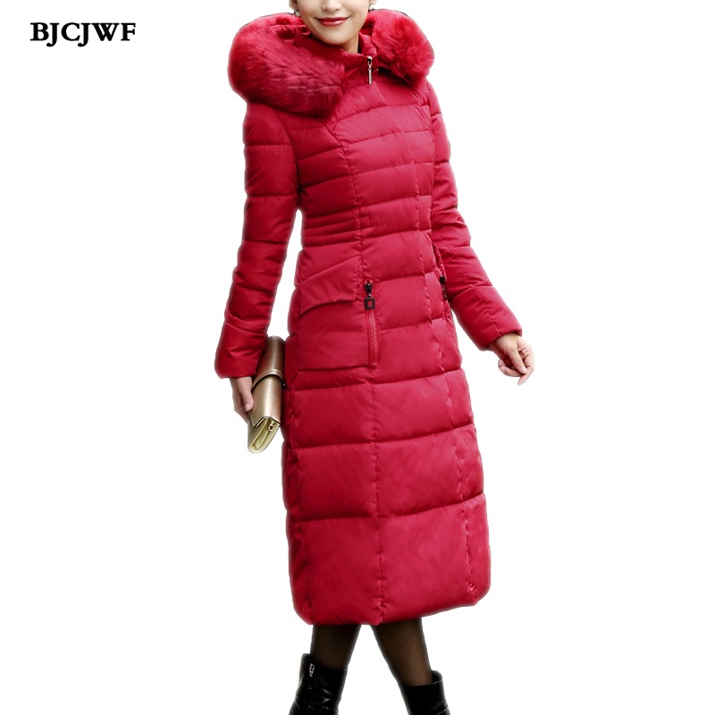 BJCJWF New Plus size female winter jacket women Long Thicken Warm winter Coat with fur pockets Parka Cotton Padded mantel damen long parka women winter jacket plus size 2017 new down cotton padded coat fur collar hooded solid thicken warm overcoat qw701