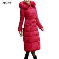 BJCJWF New Plus Size Female Winter Jacket Women Long Thicken Warm Winter Coat With Fur Pockets