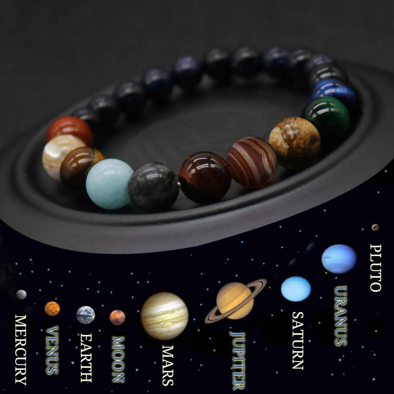 2019 Eight Planets Bead Bracelet Men Natural Stone Universe Yoga Chakra Solar Bracelet for Men Jewelry Drop Shipping