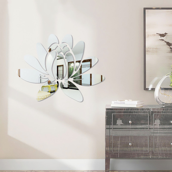 Creative Elegant Lotus 3D Decorative Acrylic Mirror Wall Stickers Flower Home Bedroom Decor Living Room Decoration Poster 1