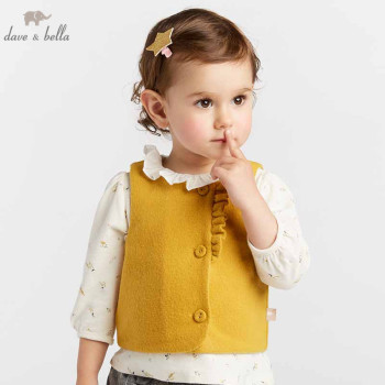 DBZ8055 dave bella autumn baby girls clothes children high quality coat kids yellow vest 1 pc image