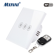 MXAVNI EU/UK standard remote control switch,3 Gang 1 Way, wall lamp switch, with mini