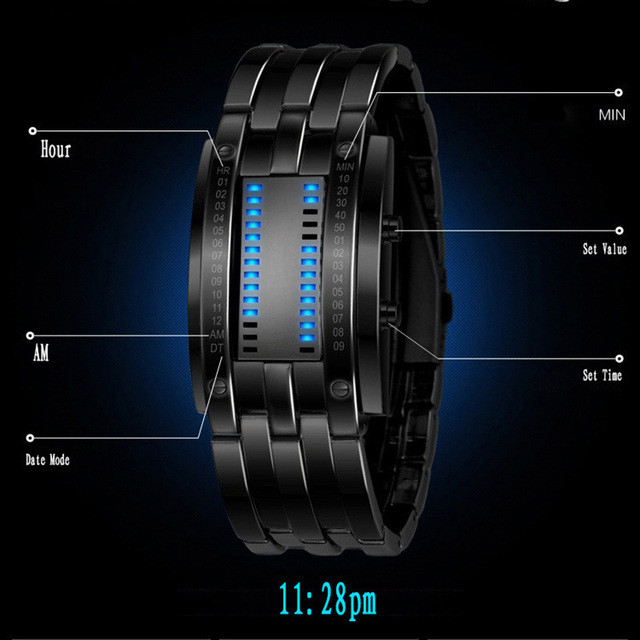 HOT SALE High quality LED Electronic Blue Binary led Displayer Luminous Sports Watches Men/Women Stainless Steel Wristwatches