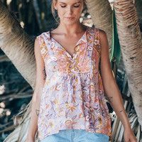 Boho Chic Gypsy Floral Print Blouses Femme Sleeveless Beach Seaside Tops V Neck Tassel Shirts Casual Blusas Summer Women