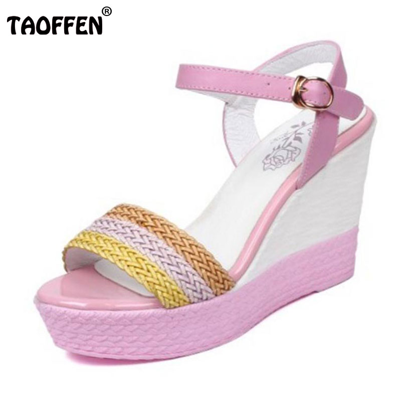 TAOFFEN Women Sweet Color Real Genuine Leather High Wedges Sandals Ankle Strap Trifle Peep Toe Sandal Summer Shoe Size 32-40 stylesowner elegant lady pumps sandal shoe sheepskin leather diamond buckle ankle strap summer women sandal shoe
