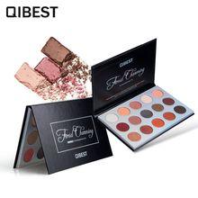 QIBEST Cosmetic Glitter Eye Shadow Palette Shimmer Pigmented Eyeshadow Paletas De Sombra Olho 15 Colors Matte Make Up