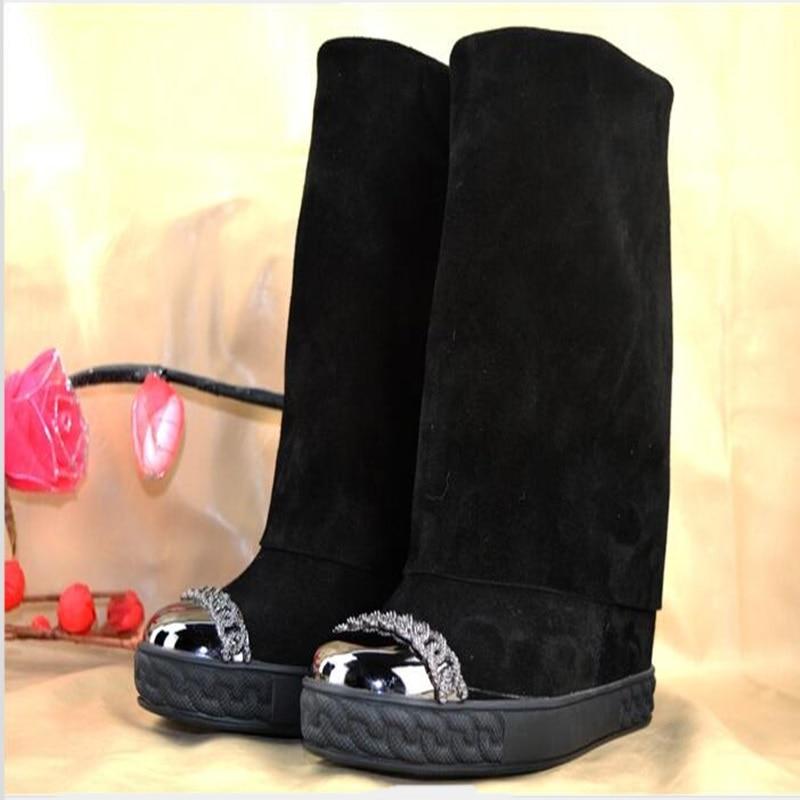 En D'hiver Noir mollet Hauteur Bout Designer Bottes Rome Chaussures Chaîne as Mi Métal As Picture Daim Femme New Rond Croissante Picture qxndA0