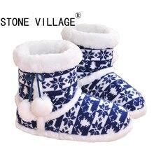 Kits De Lana Zapatillas de Casa de PUEBLO de PIEDRA Nuevo Estilo de Corea de Impresión de Felpa Caliente Del Invierno de Las Mujeres Zapatillas Zapatillas de Interior Las Mujeres Zapatos TX66