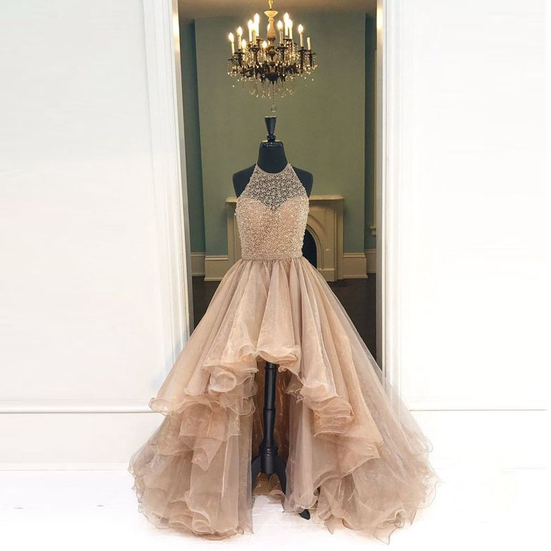 Halter High-Low Beaded Chic   Prom     Dresses   2019 Real Photo Champagne Asymmetrical Elegant Evening Party Gowns Vestido de festa