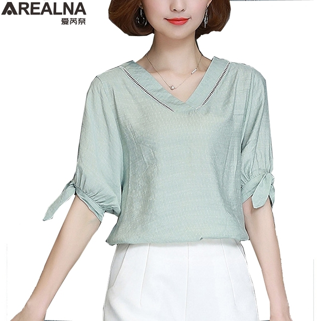 7305b35eb4a8e8 Summer Loose Lace White Blouse Women Tops short Sleeves Shirt Puff sleeves  bow V-neck Elegant Blouses blusa mujer plus size 5XL
