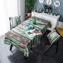 Simanfei Table Cloth Retro Creative Simulation Wood Grain Green Paint Printed Cover Minimalist Living Room Tablecloth