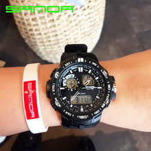 Sport Super Cool Men's Quartz Digital Watch Men Sports Watches SANDA Luxury Brand LED Military Waterproof Wristwatches OP001