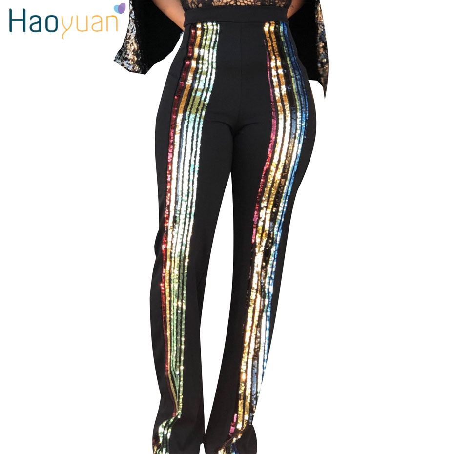 HAOYUAN High Waist Sequin Patchwork   Pants   Women Casual Trousers Glitter Stretchy Club Party Sparkly Straight   Wide     Leg     Pants