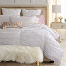 Illucity 4/6-Piece Shabby Chic Ruched Ruffle Duvet Cover Set King Queen,hot pink
