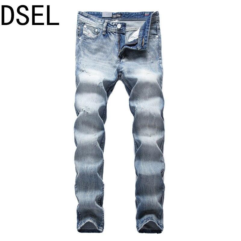 DSEL Mens Jeans Autumn Famous Brand Men Slim Jeans Men Street Cotton Jeans Homme Pants Long Trousers