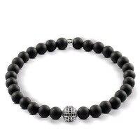 Thomas Style Black Matte Obsidian CZ Cross Strand Bracelets TMS Untuk Wanita Jewelry Natural Stone Kolye