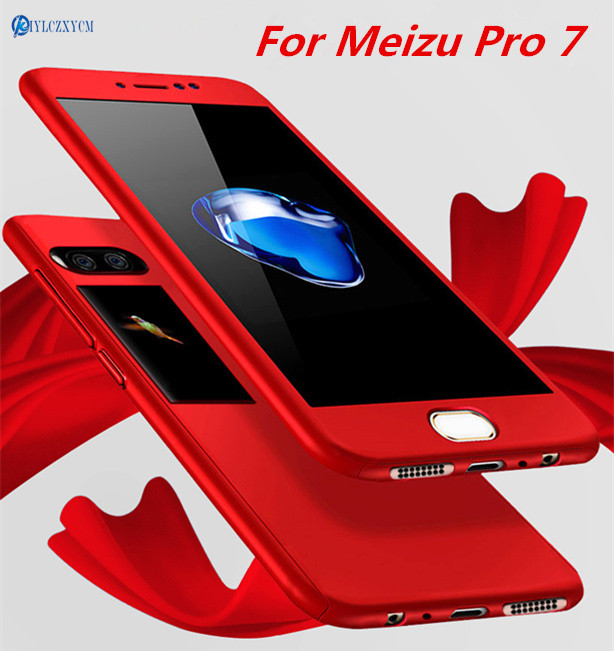 KIYLCZXYCM 360 Degree Full Body Protection Cover Case For Meizu Pro 7 Case 5.2Phone Case on for Meizu Pro7 Coque+Tempered Glass
