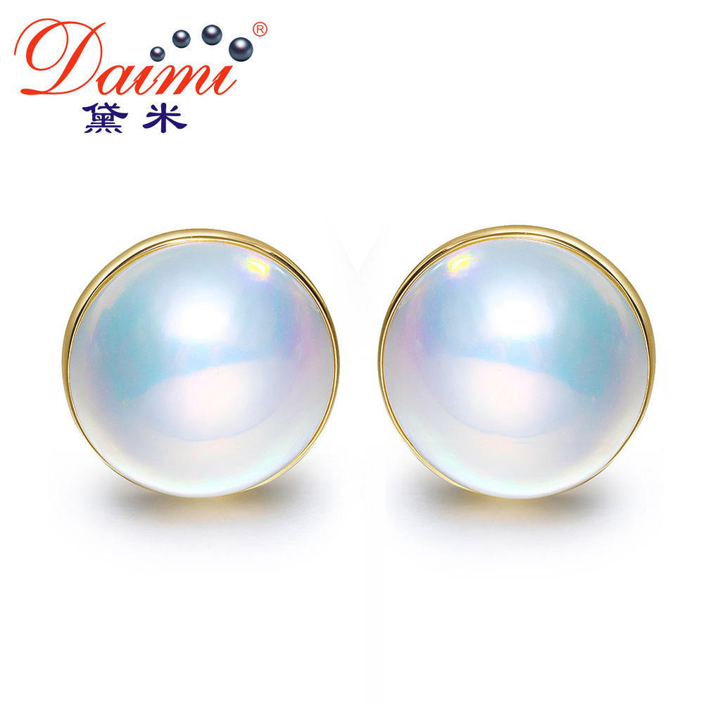DAIMI 14 15mm High Brightness Mabe Seawater Pearl Earrings Authentic Female 14K Gold Earring