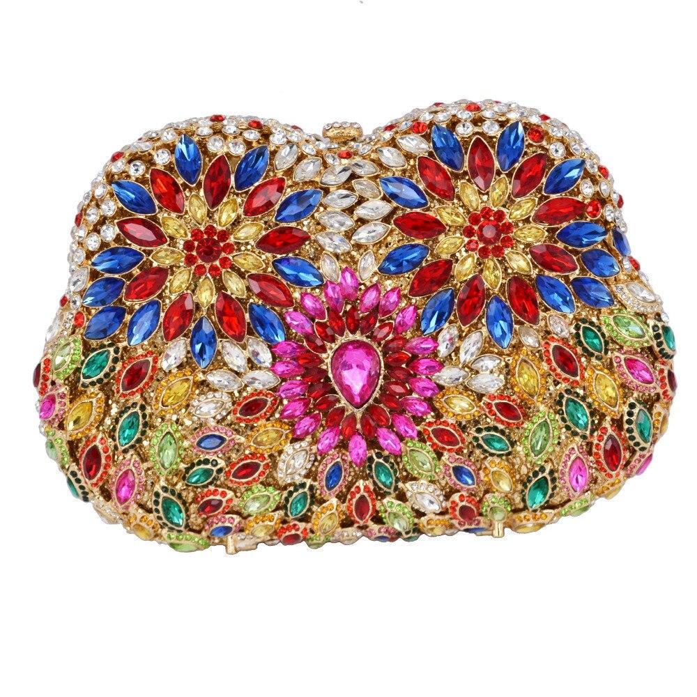 ФОТО Blue Fuschia Crystal Evening Bag Multicolor Diamante Clutches Bag Wedding Bridesmaid Handbag Handcraft Studded Clutch Bag SC503