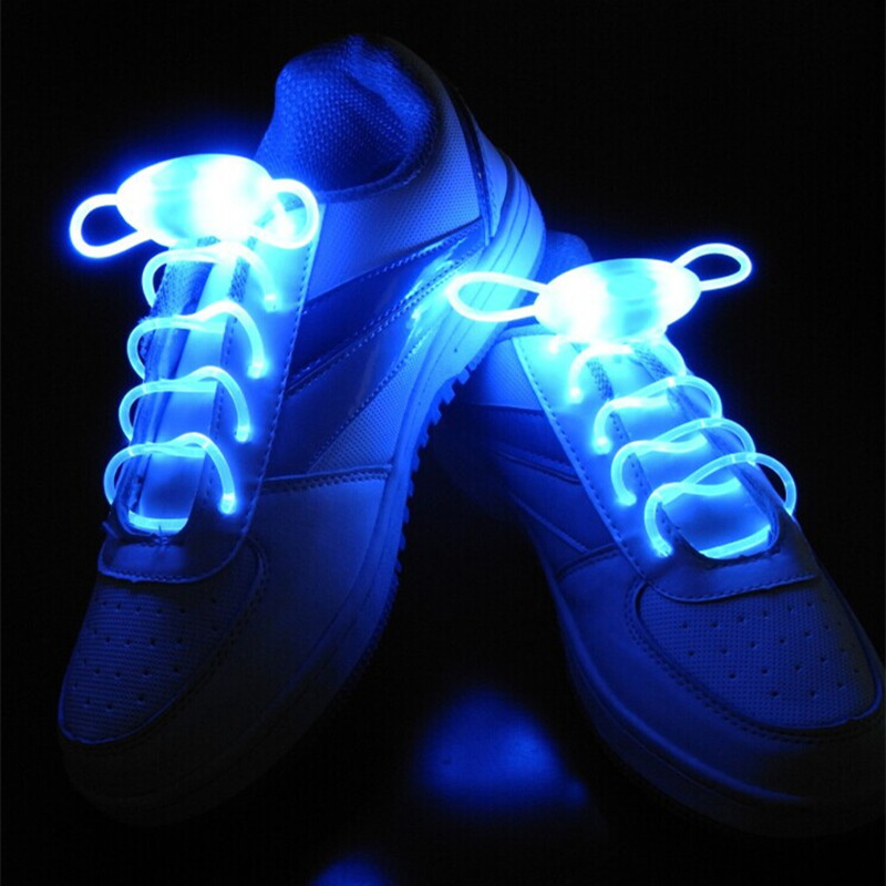 25pairs/lot <font><b>Led</b></font> fiber optic electronic light toy <font><b>shoelace</b></font> luminous <font><b>shoelaces</b></font> cool young man christmas party decorations
