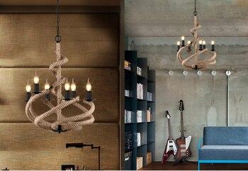 Подвесной светильник из кованого железа в американском стиле, ретро стиль, для ресторана, кофе бар, гостиной, оснастка, люстра из пеньковой в