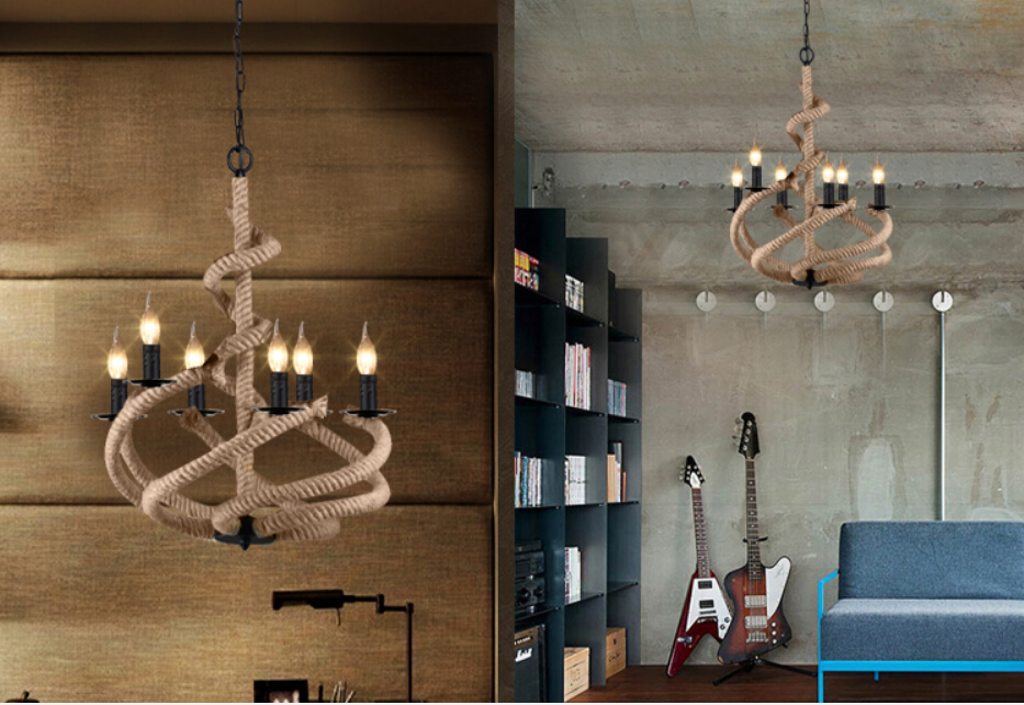 American loft Retro Industrial creative Wrought iron lamp Restaurant coffee bar living room tooling Hemp rope chandelier rural pastoral creative restaurant cafe personality wrought iron rope chandelier lamp internet cafe bar loft hemp rope lamp