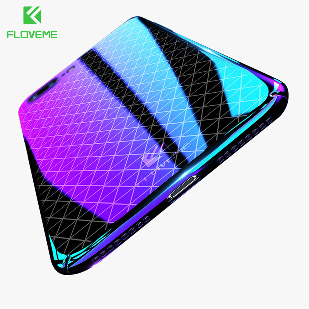 FLOVEME Luxury Cool Case For iPhone 7 8 Plus Plating Gradient Ultra Thin PC Case For iPhone 6 6S Plus Cover Phone Shell Capinhas