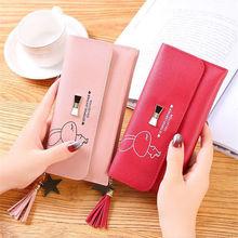 Hot new fashion design cartoon print wallet female small cute kawaii business card holder long girl