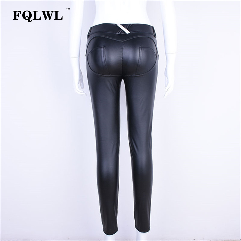 FQLWL Plus Sizes PU Leather Pants Women Elastic Waist Hip Push Up Black Sexy Female Leggings Jegging Casual Skinny Pencil Pants 13