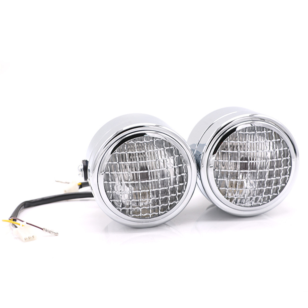 H4 35W 3.5 Motorcycle Side Mounted Twin Headlight Retro Headlamp Dominator For Chopper Bobber Dual Sport image