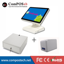 Pure white 15 inch android pos touch screen system all in one /5 wire restitve screen with pos printer and cash drawer