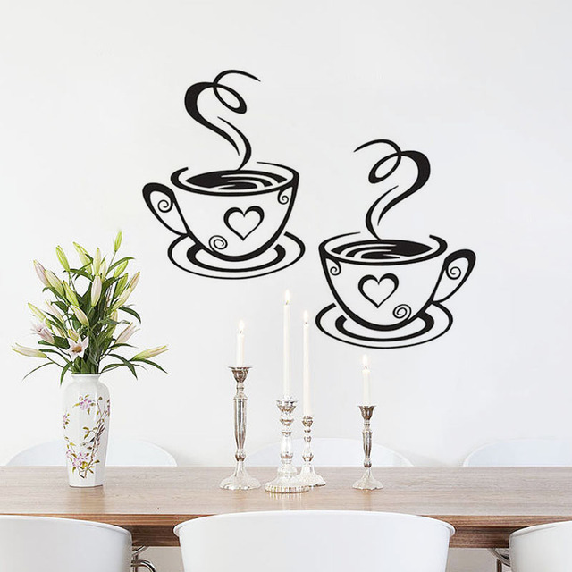 DCTOP Double Coffee Cups Vinyl Wall Stickers Art Wall Decals - Vinyl wall decal adhesive