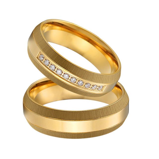 Unique Mens Wedding Band Couple Rings Anillos Anel Bague Gold Color