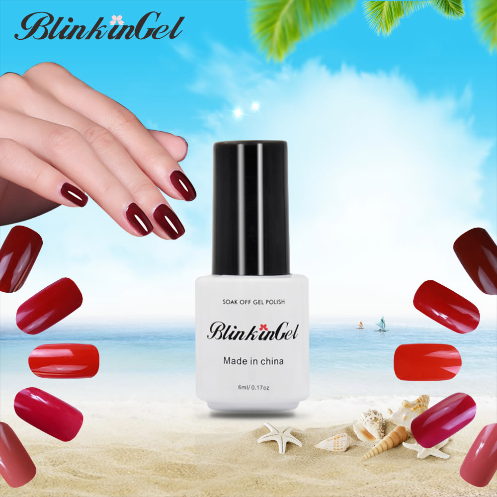 BlinkinGel 1pcs 6ml Red Gel Nail Polish LED Lamp Gel Lacquer 29 Color Gels Lucky Nail UV Gel Color Gelpolish of Acrylic Gellak