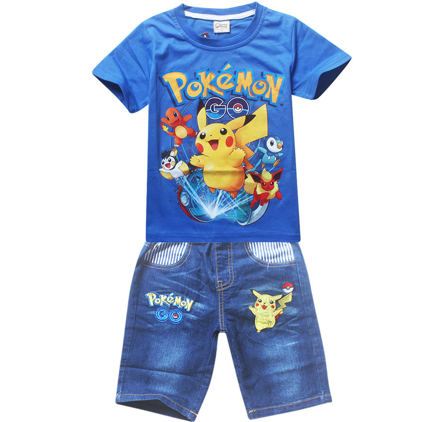 7895d812 Boys Clothing Sets Pokemon Go Short Sleeve T-Shirt+Jeans Set Summer For Boys  ...
