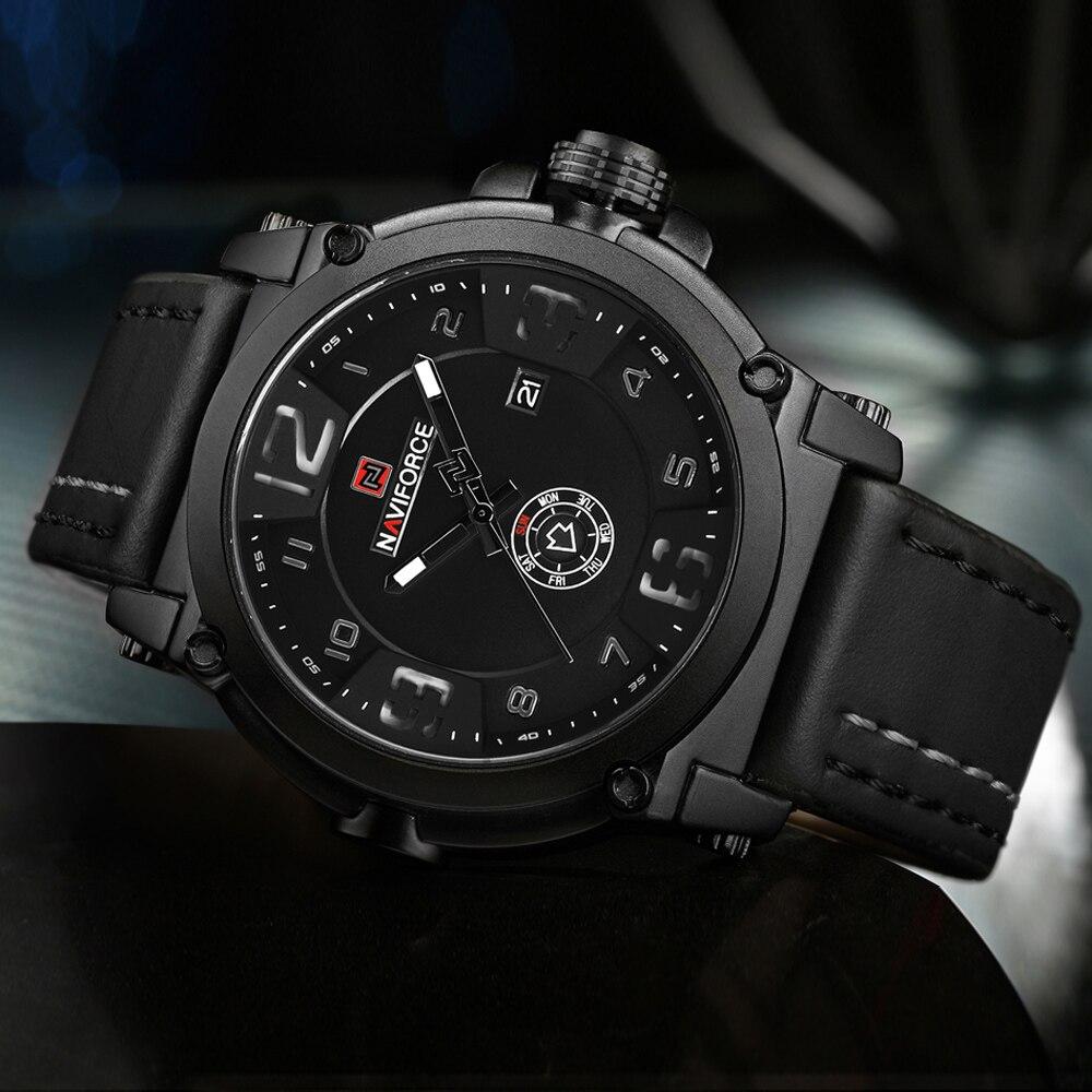 2017 men sport watches NAVIFORCE luxury brand men quartz watch genuine leather strap male calender week waterproof wristwatches naviforce new genuine leather watch men