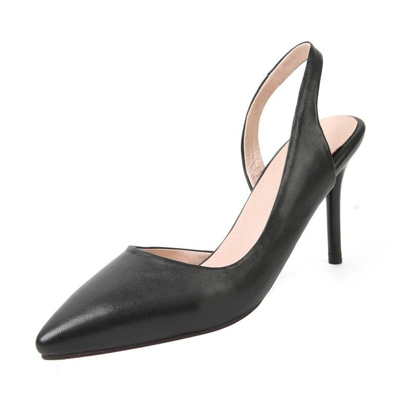 Bout Mode Casual En on Peu Chaussures Femmes Pompes Bureau Talons Noir Cuir apricot Véritable Solide Pointu Haute Dame Mince Slip Profonde qFtfnz