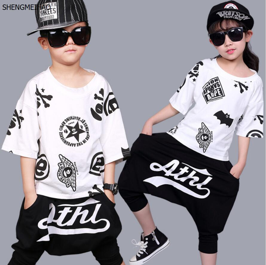 Hip Hop Dancing Show Clothing 2pc Vest Cotton T-shirt Mother & Kids pants Cotton Trousers Stretch Knit 3-12years Old