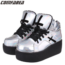 34~40 Womens ladies high platform wedge goth punk creepers ankle boots fashion autumn winter silver hologram Woman HARAJUKU shoe