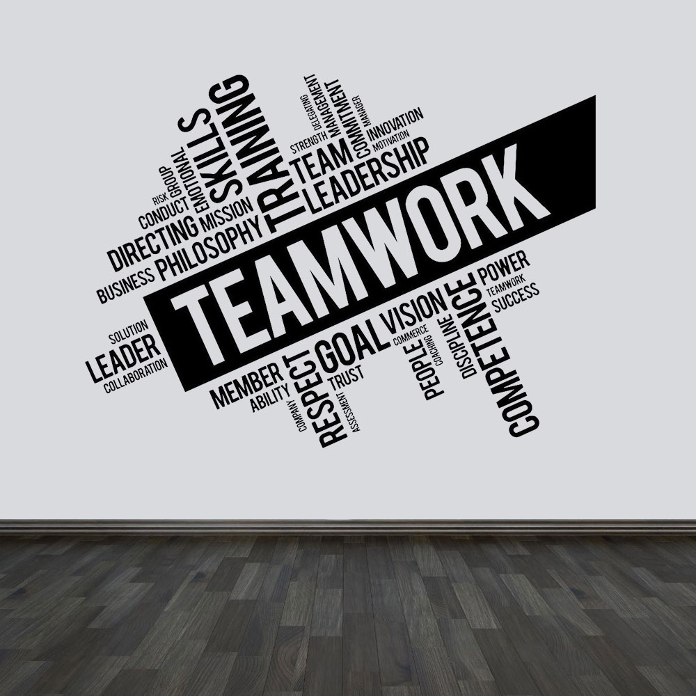 Large Size Teamwork Quotes Vinyl Wall Sticker 160x118cm-in
