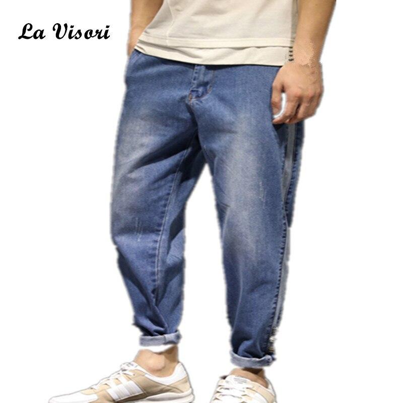 Summer Mens Jeans Hip-hop Cowboy Slim Bound Feet Ankle-length Pants Vintage Acid Washed Faded Biker Short Jeans plus size