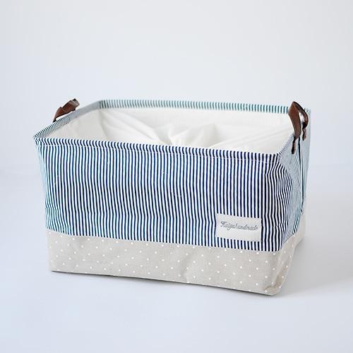 1pc Zakka Style Navy Cotton Underwear Storage Box Stripe Canvas Linen  Organizer Basket Clothing Folding Storage