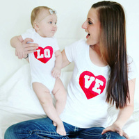 Cotton LOVE Family Matching Outfits Valentine Gift Clothes Short Sleeve Mother Baby Family Look Baby Romper