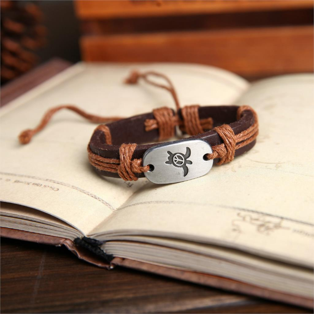 light brown hand crafted leather sea turtle bracelet-2