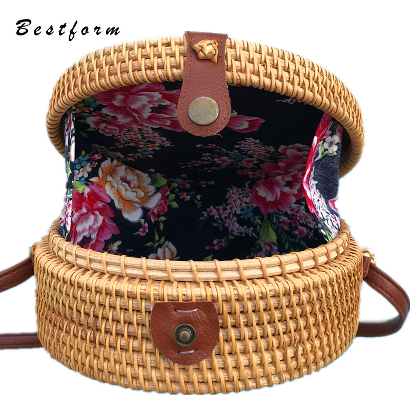 Fashion Women Hand Woven Bag Round Rattan Straw Bohemia Style Summer Beach Bags